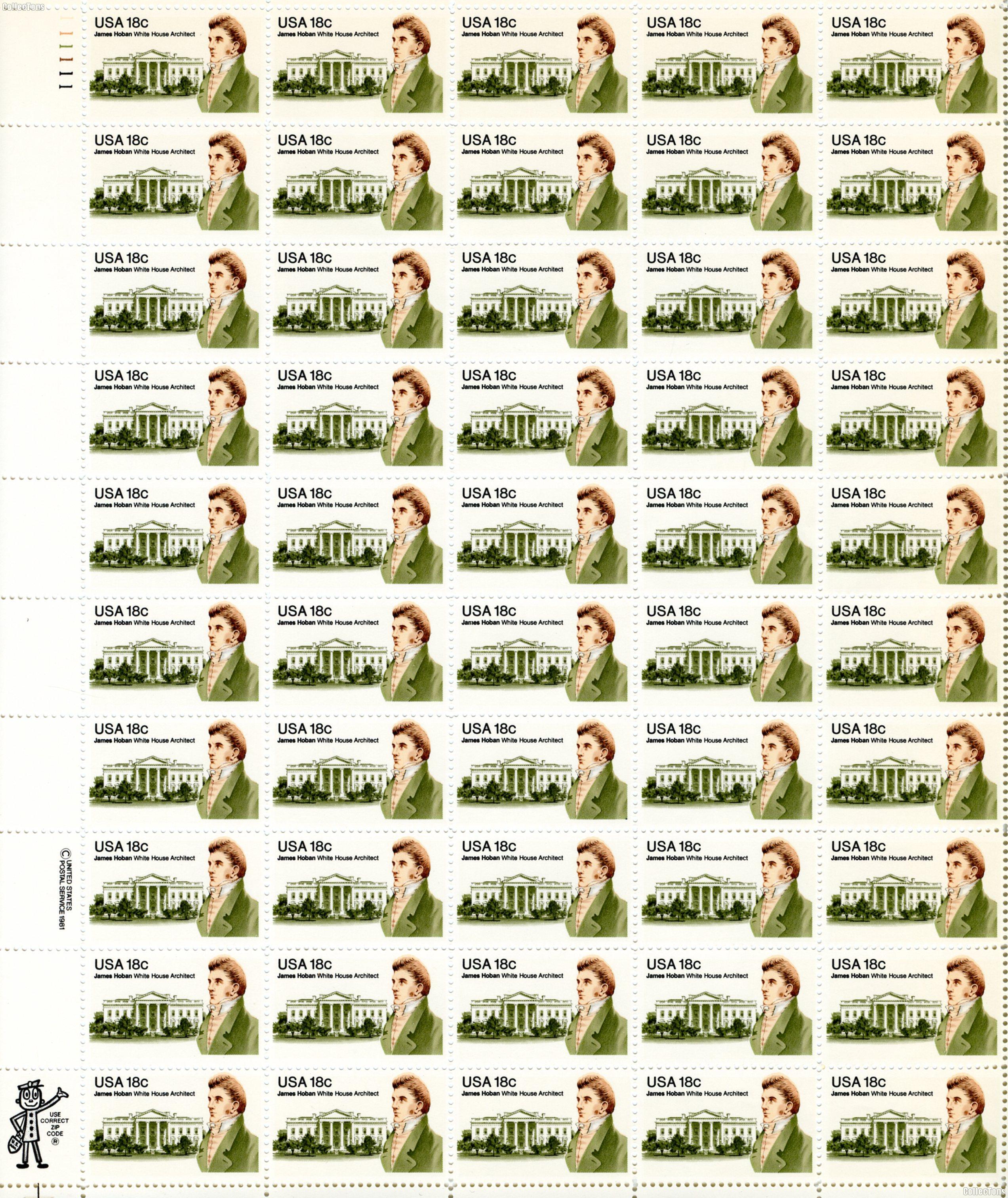 1981 James Hoban 18 Cent US Postage Stamp MNH Sheet of 50 Scott #1935