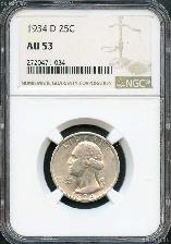 1934-D Washington Silver Quarter in NGC AU-53