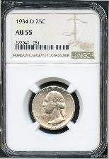 1934-D Washington Silver Quarter in NGC AU-55