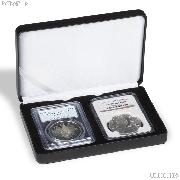 Leatherette Coin Display Box for 2 Certified Slabs by Lighthouse NOBILE