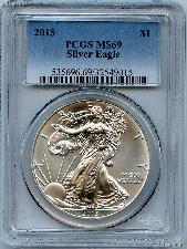 2015 American Silver Eagle Dollar in PCGS MS 69
