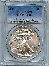 2014 American Silver Eagle Dollar in PCGS MS 69