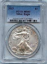 2013 American Silver Eagle Dollar in PCGS MS 69