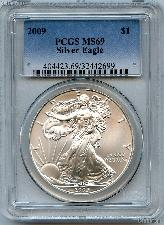 2009 American Silver Eagle Dollar in PCGS MS 69