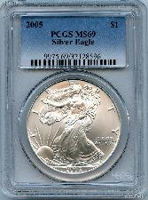 2005 American Silver Eagle Dollar in PCGS MS 69