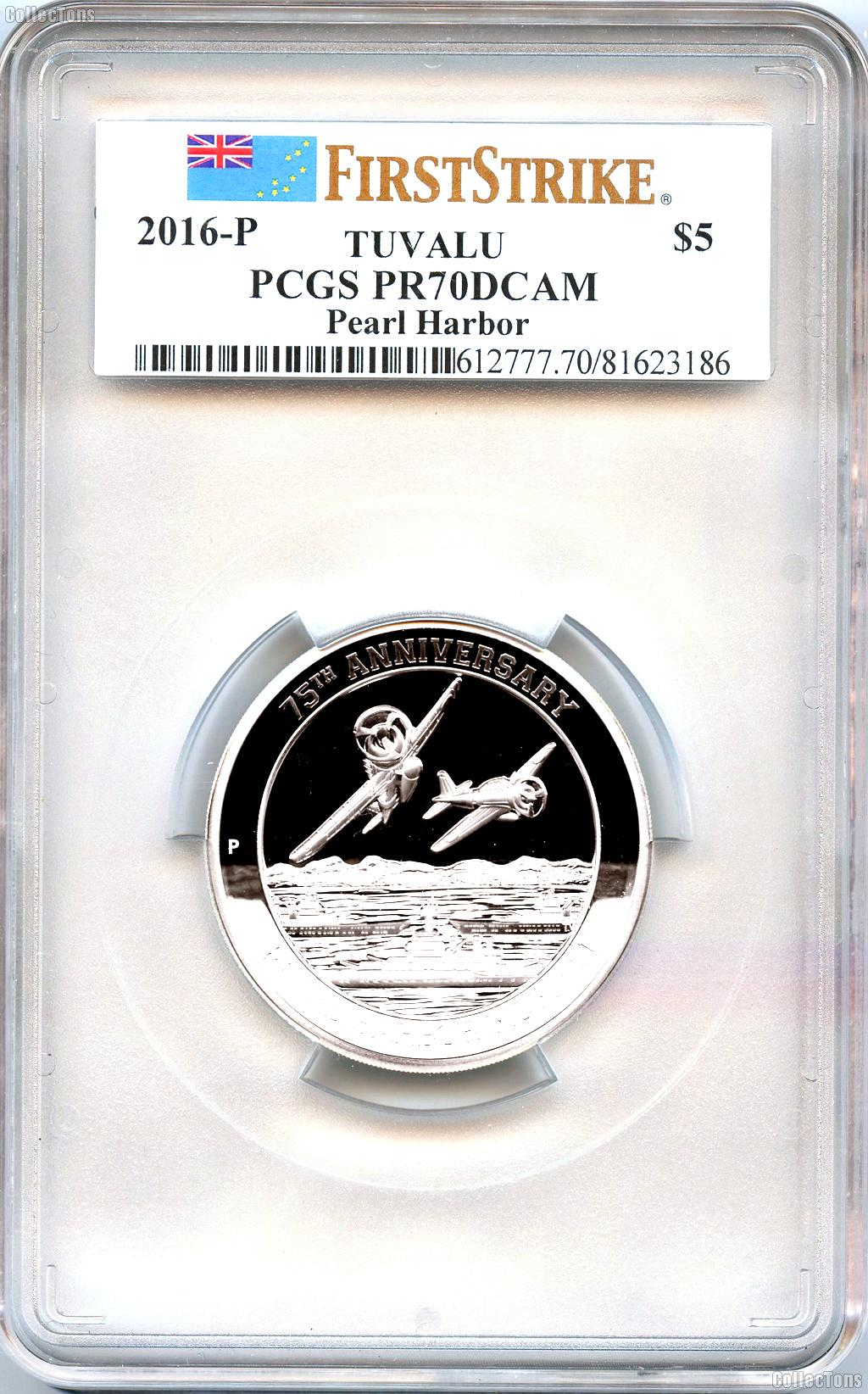 2016 Tuvalu 75th Anniversary $5 Pearl Harbor 5 Oz Silver Coin - PCGS PR70DCAM First Strike