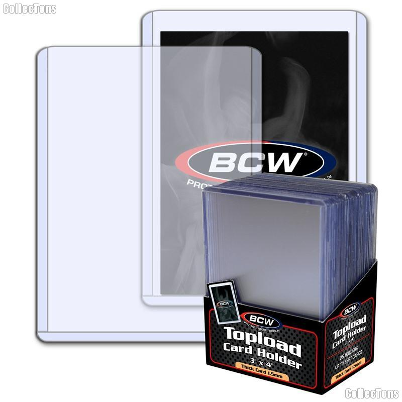 3x4 Sports Card Holders by BCW 25 Pack Thick Card Topload Sleeves 59 Point 1.5mm