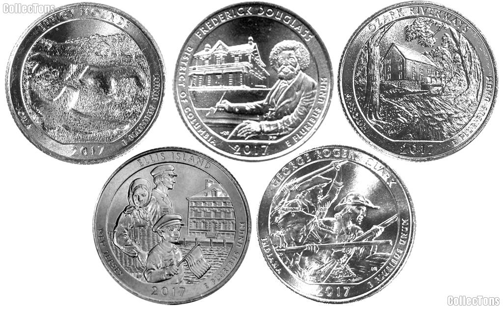 2017 National Park Quarters Complete Set Denver (D) Mint Uncirculated (5 Coins) IA, DC, MO, NJ, IN