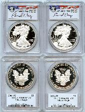 American Silver Eagle Proof Dollar Signed by Edmund Moy in PCGS PR69DCAM Mixed Dates
