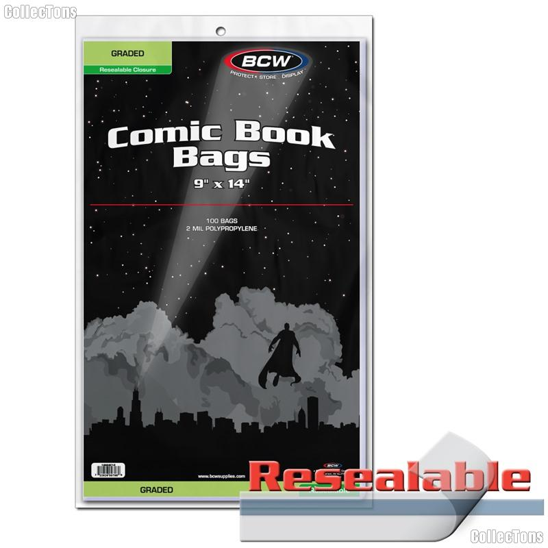 Graded Comic (CGC and CBCS) Resealable Bags Polypropylene - Pack of 100 by BCW