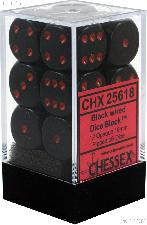 12 x Black/Red 16mm Six Sided (D6) Opaque Dice by Chessex CHX25618