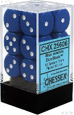 12 x Blue/White 16mm Six Sided (D6) Opaque Dice by Chessex CHX25606