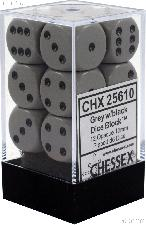 12 x Dark Grey/Black 16mm Six Sided (D6) Opaque Dice by Chessex CHX25610
