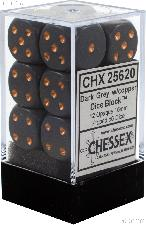12 x Dark Grey/Copper 16mm Six Sided (D6) Opaque Dice by Chessex CHX25620