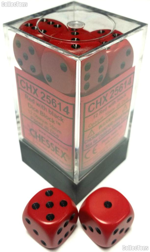 12 x Red/Black 16mm Six Sided (D6) Opaque Dice by Chessex CHX25614