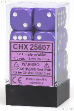 12 x Purple/White 16mm Six Sided (D6) Opaque Dice by Chessex CHX25607