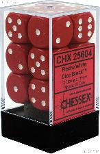 12 x Red/White 16mm Six Sided (D6) Opaque Dice by Chessex CHX25604
