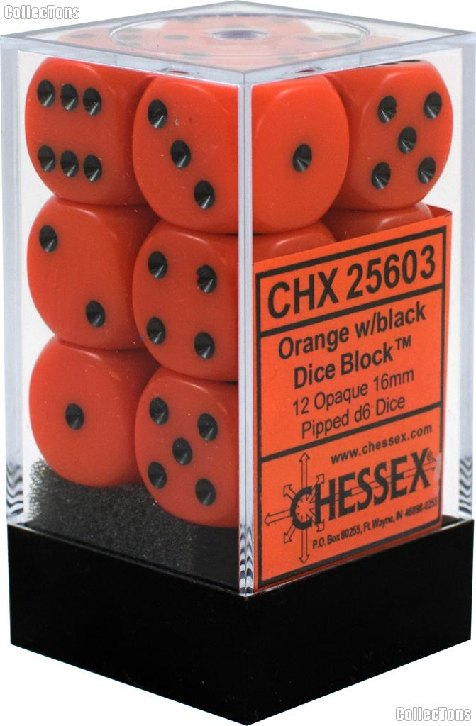 12 x Orange/Black 16mm Six Sided (D6) Opaque Dice by Chessex CHX25603