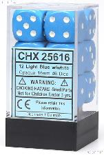 12 x Light Blue/White 16mm Six Sided (D6) Opaque Dice by Chessex CHX25616
