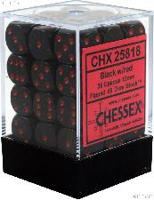 36 x Black/Red 12mm Six Sided (D6) Opaque Dice by Chessex CHX25818
