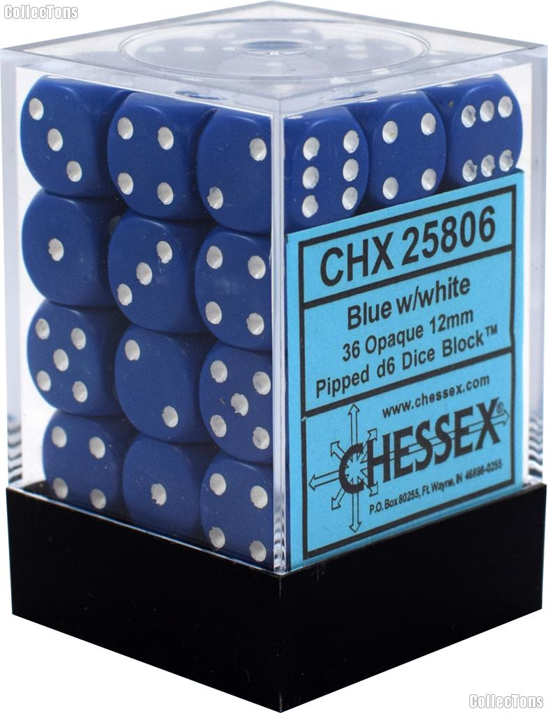 36 x Blue/White 12mm Six Sided (D6) Opaque Dice by Chessex CHX25806