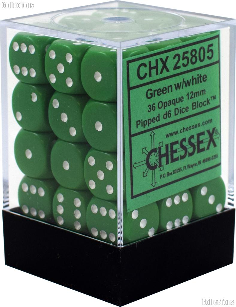 36 x Green/White 12mm Six Sided (D6) Opaque Dice by Chessex CHX25805