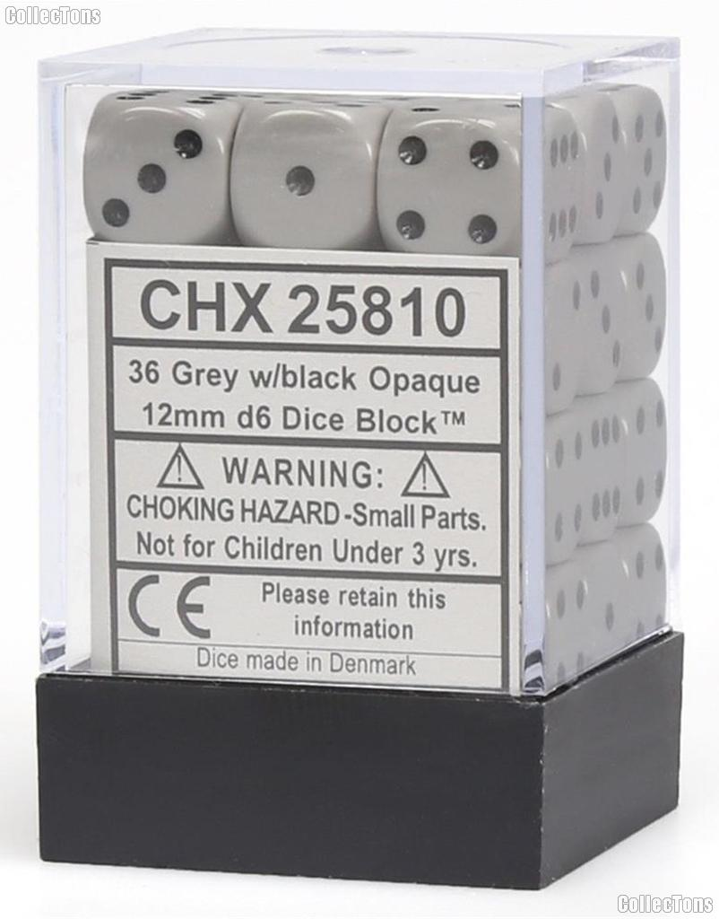 36 x Grey/Black 12mm Six Sided (D6) Opaque Dice by Chessex CHX25810