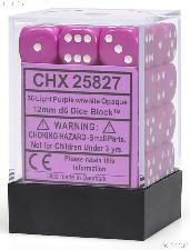 36 x Light Purple/White 12mm Six Sided (D6) Opaque Dice by Chessex CHX25827