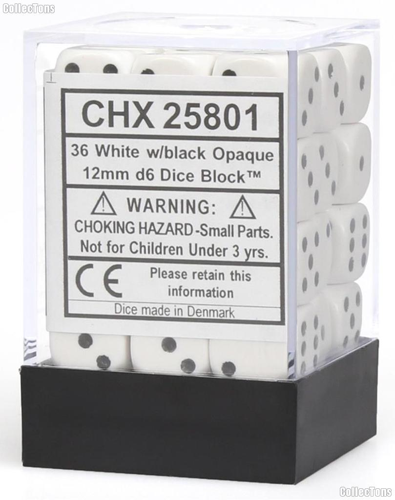 36 x White/Black 12mm Six Sided (D6) Opaque Dice by Chessex CHX25801