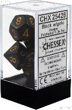 7-Die Set Polyhedral Black/Gold Opaque Dice by Chessex CHX25428