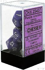 7-Die Set Polyhedral Purple/White Opaque Dice by Chessex CHX25407