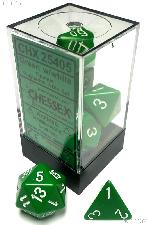 7-Die Set Polyhedral Green/White Opaque Dice by Chessex CHX25405