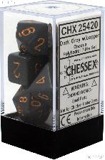 7-Die Set Polyhedral Dark Grey/Copper Opaque Dice by Chessex CHX25420