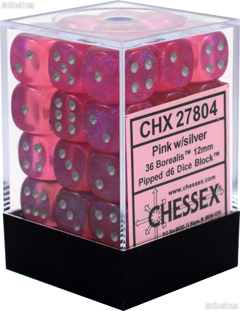 36 x Pink/Silver 12mm Six Sided (D6) Borealis Dice by Chessex CHX27804
