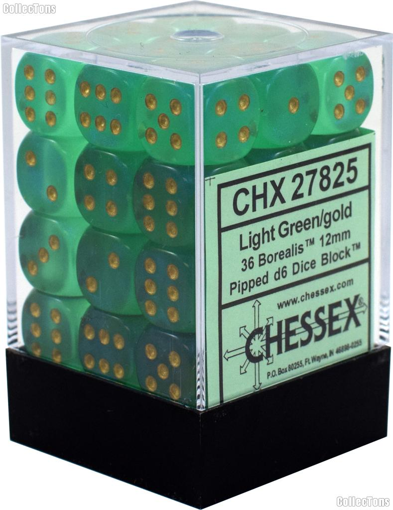 36 x Light Green/Gold 12mm Six Sided (D6) Borealis Dice by Chessex CHX27825