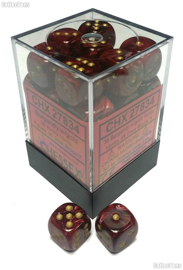 36 x Burgundy/Gold 12mm Six Sided (D6) Vortex Dice by Chessex CHX27834