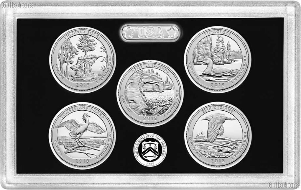 2018 National Parks SILVER Quarter Proof Set - 5 Coins