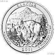 2011 Glacier 5 Oz Silver National Park Quarter ATB Coin