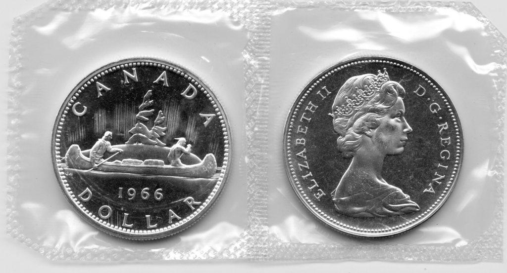 1966 BU Canada Silver Dollar in Original Mint Cello