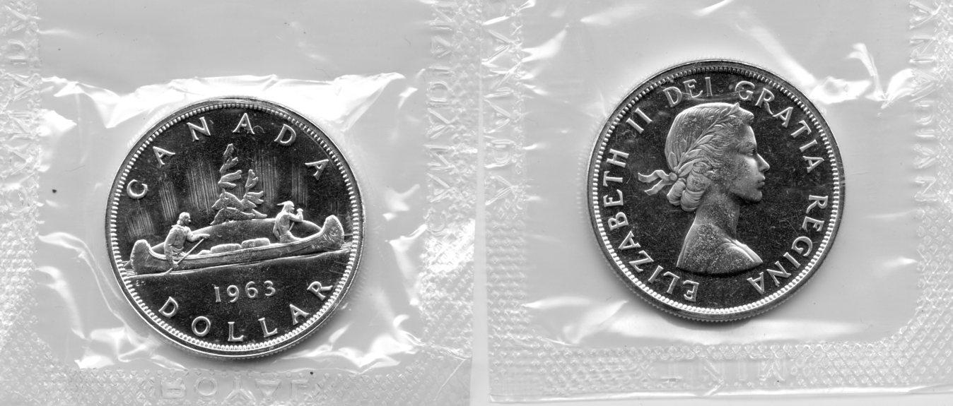 1963 BU Canada Silver Dollar in Original Mint Cello