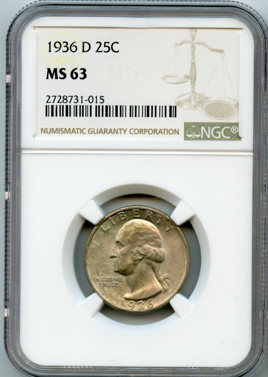 1936-D Washington Silver Quarter in NGC MS 63