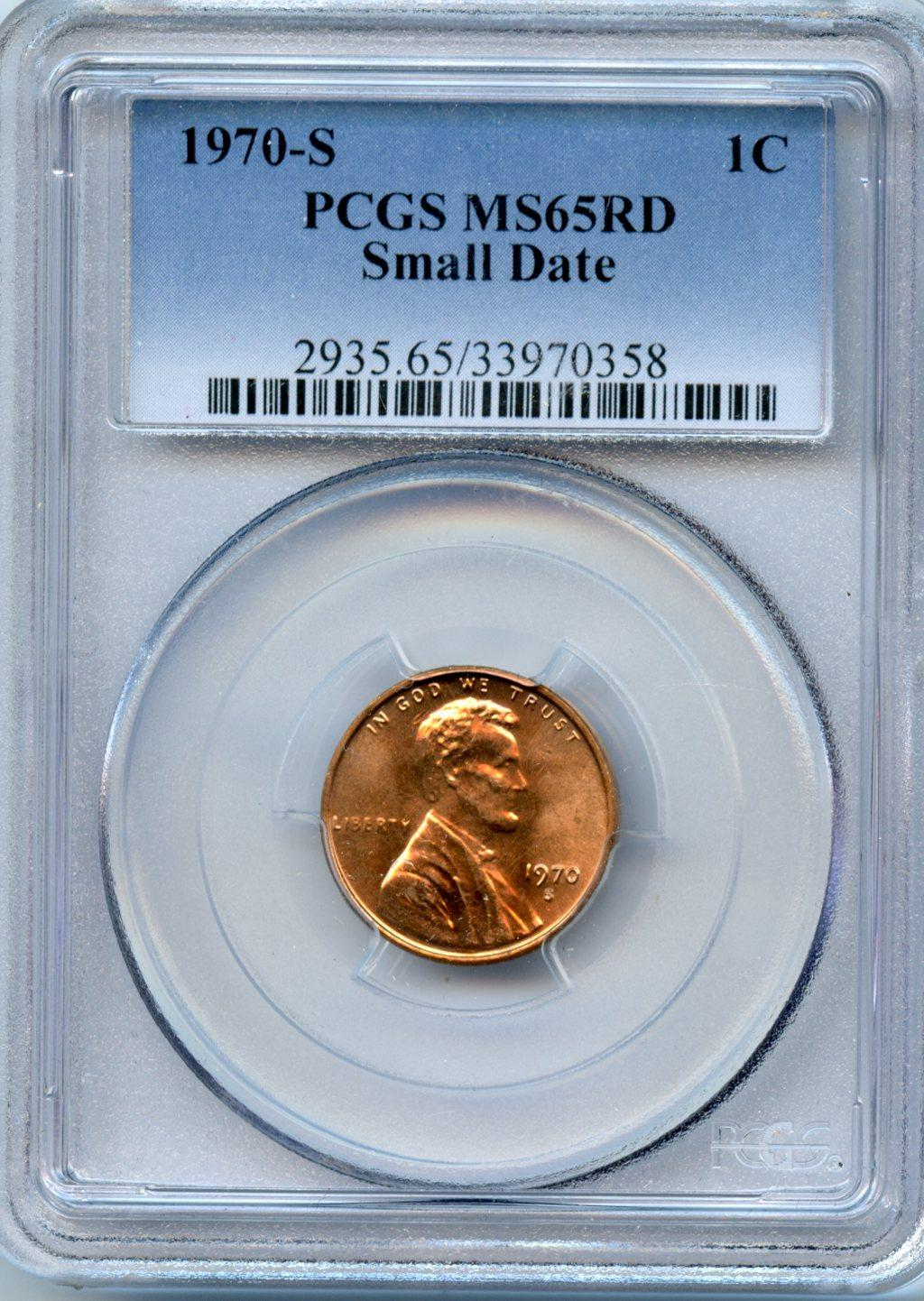 1970-S Lincoln Memorial Cent Small Date in PCGS MS 65 RD