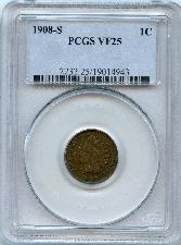 1908-S Indian Head Cent in PCGS VF 25