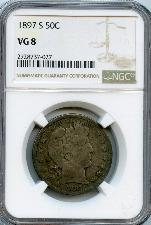 1897-S Barber Liberty Head Silver Half Dollar KEY DATE in NGC VG 8