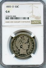 1892-O Barber Liberty Head Silver Half Dollar KEY DATE in NGC G 6
