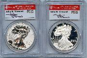 2012-S American Silver Eagle San Francisco 75th Anniversary Set (2 Coins) Proof and Reverse Proof FIRST STRIKE in PCGS PR 69 Deep Cameo (DCAM) & PR 69 Signed by John Mercanti