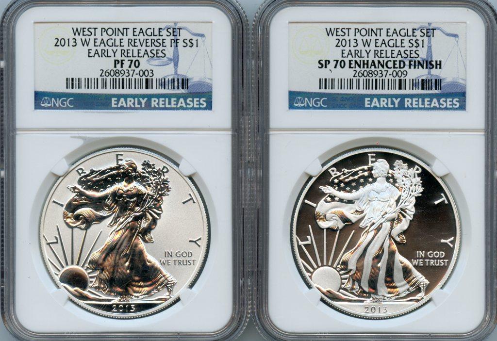 2013-W American Silver Eagle West Point Set (2 Coins) Reverse Proof and Enhanced Blue Label EARLY RELEASES NGC PF 70 & SP 70