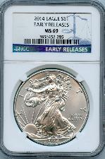 2014 American Silver Eagle Dollar EARLY RELEASES in NGC MS 69