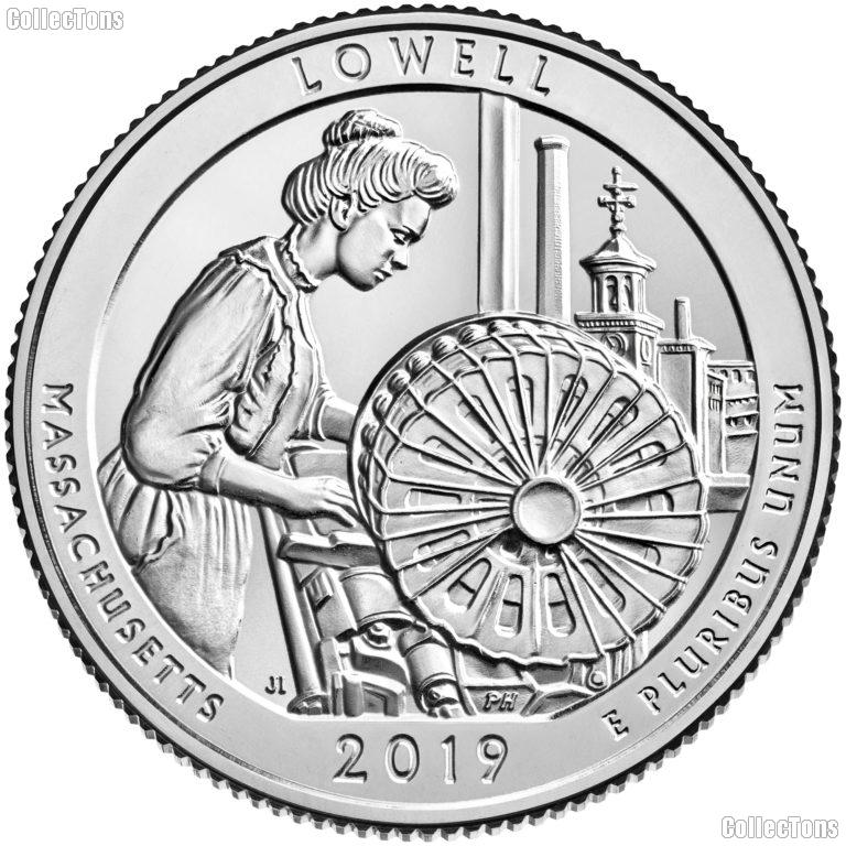 2019-W Massachusetts Lowell National Historical Park Quarter GEM BU Great American Coin Hunt