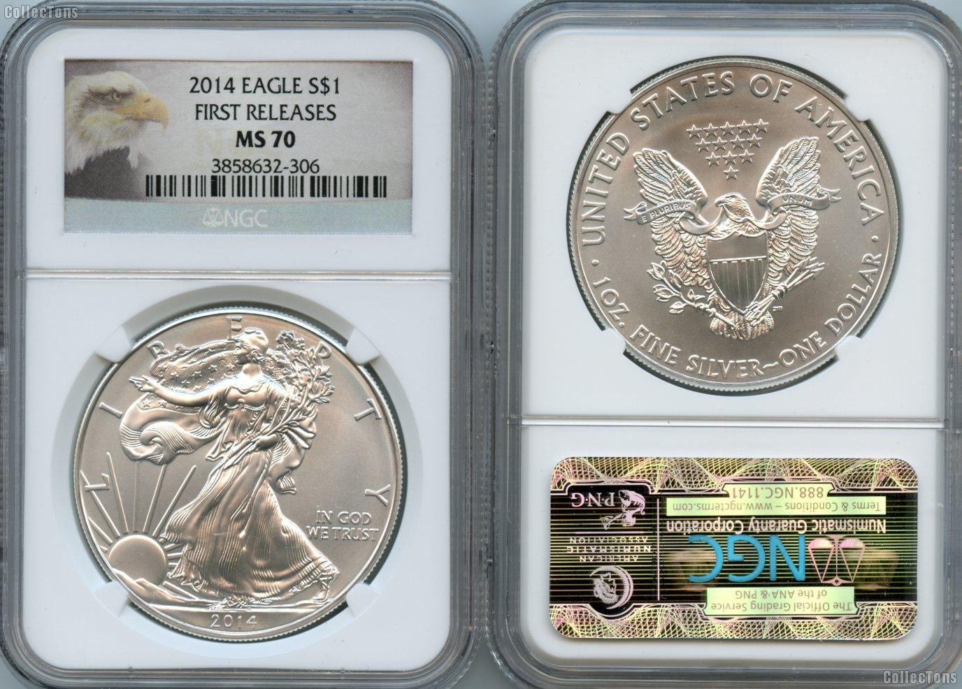 2014 American Silver Eagle Dollars in NGC MS 70 First Releases